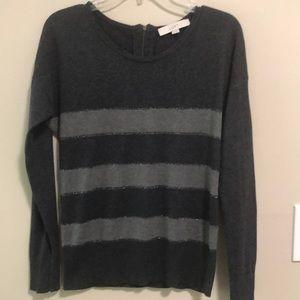 LOFT Sweater Gray Striped Long Sleeve SZ S EUC
